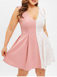 Polka Dot and Striped Panel Plus Size A Line Dress -