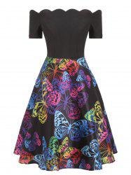 Scalloped Butterfly Print Flare Dress -