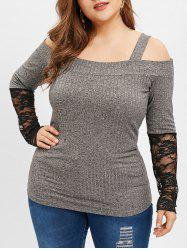 Plus Size Lace Insert Cold Shoulder Top -
