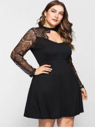 Mini Plus Size Lace Insert Flare Dress -