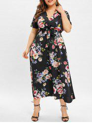 Short Sleeve Plus Size Floral Print Maxi Dress -