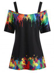 Plus Size Tie Dye Open Shoulder T Shirt -