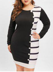 Plus Size Buttons Embellished Hit Color Bodycon Dress -
