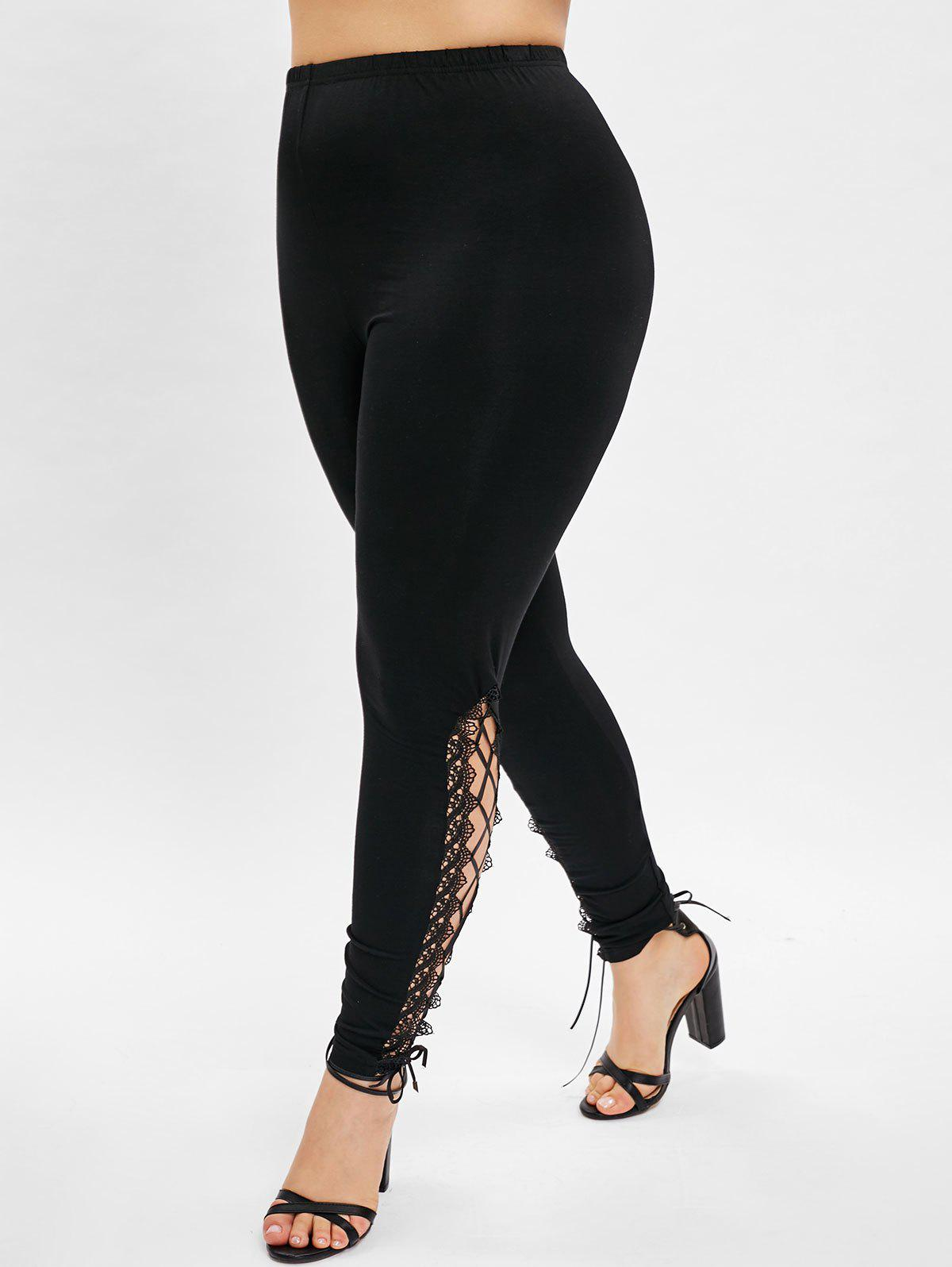ea5638fca30f6b 80% OFF] Plus Size Lace Panel Side Lace Up Leggings | Rosegal