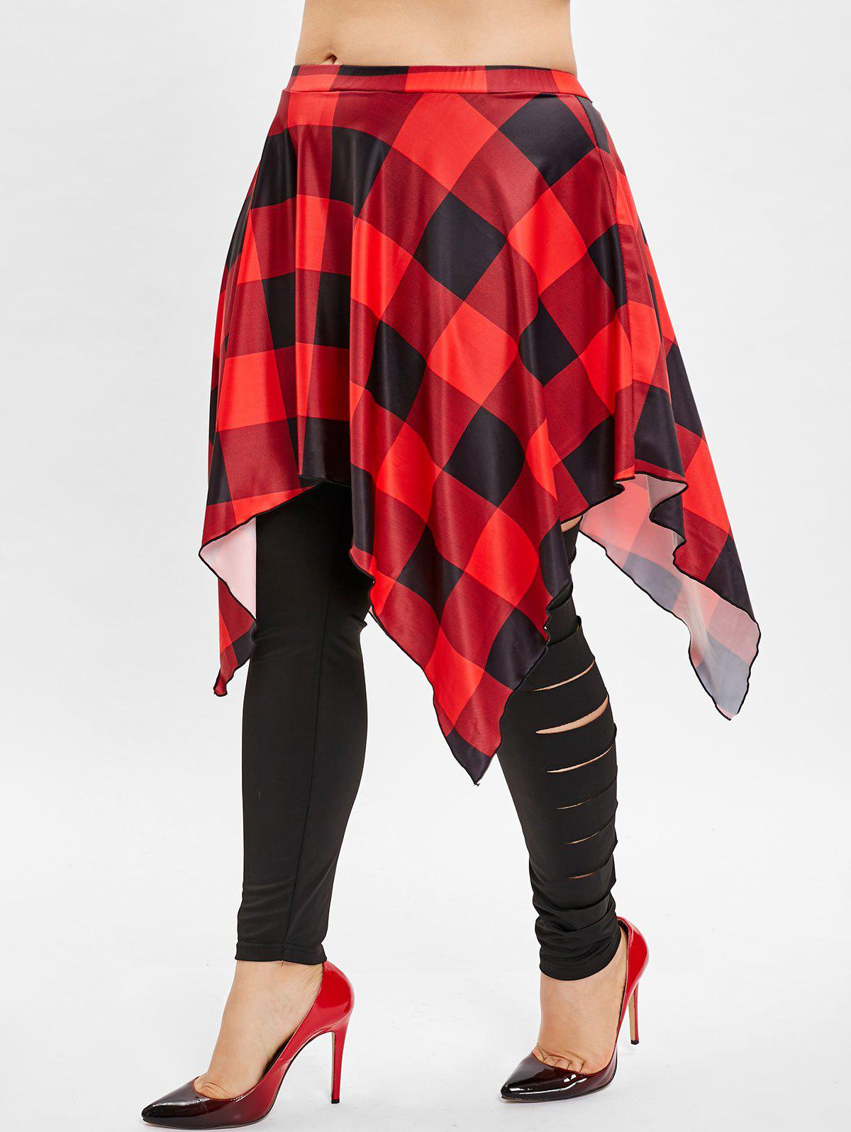 Shop Ripped Plus Size Plaid Panel Skirted Leggings