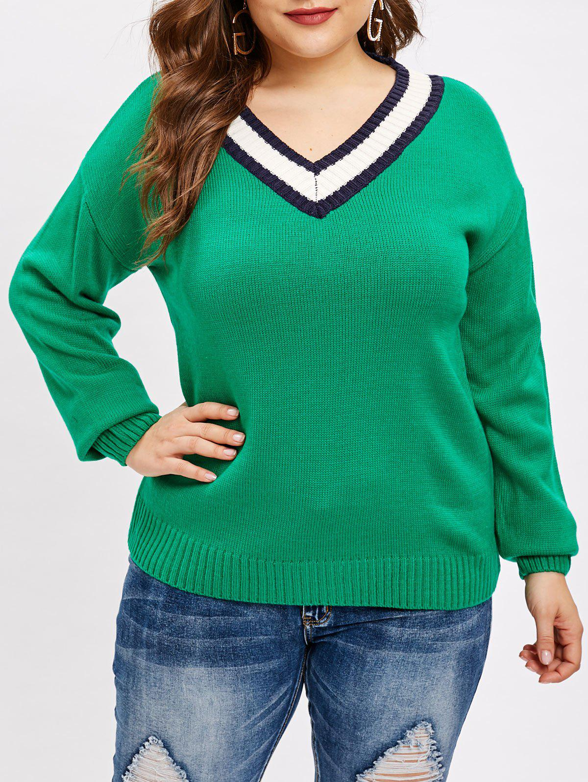 New V Neck Plus Size Pullover Sweater