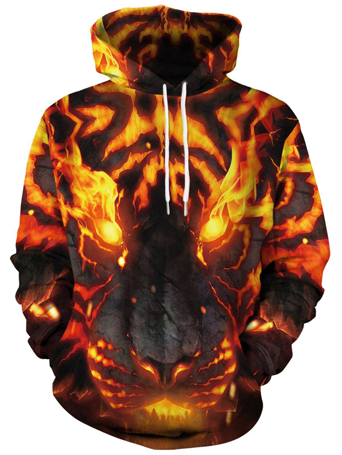 Sweat à capuche imprimé 3D Terrible Fire Animal Jaune Clair L