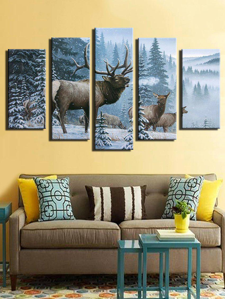 Trendy Snowy Forest Elks Print Wall Art Canvas Paintings