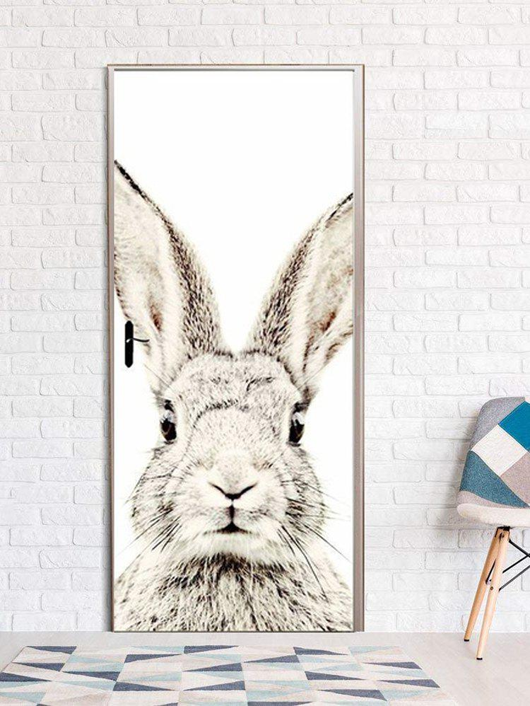 Cheap Rabbit Print Door Art Stickers