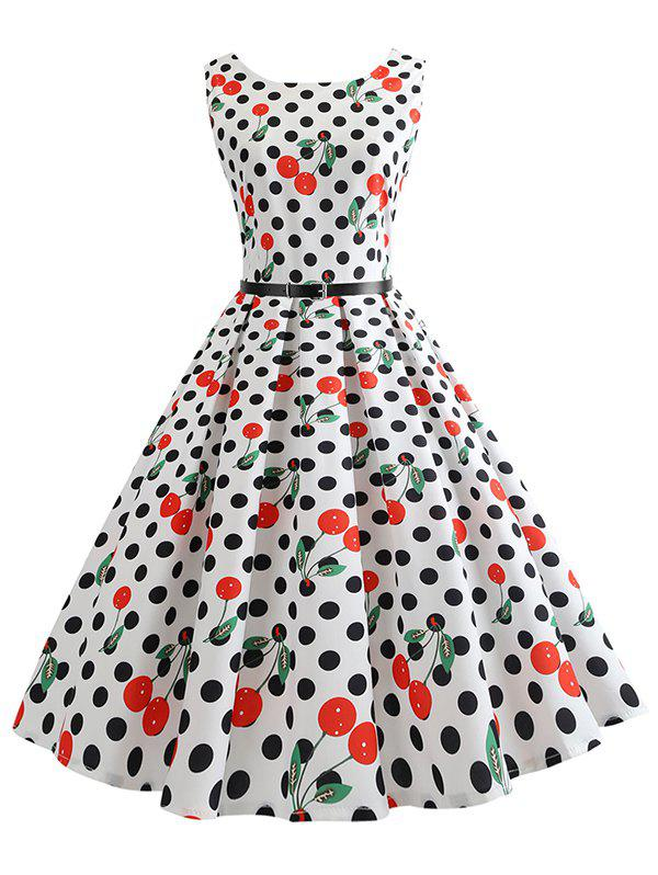 Outfits Vintage Dotted Cherry Print Pin Up Dress