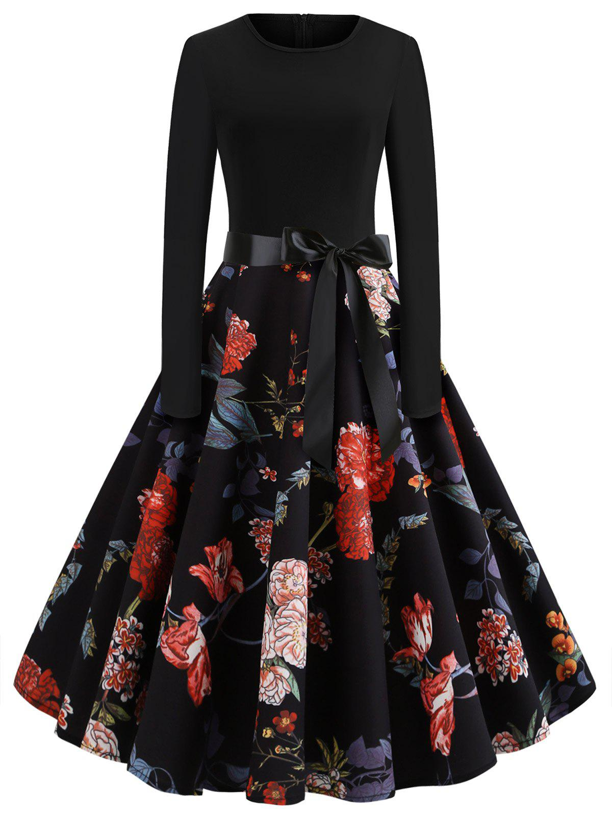 Discount Floral Print Bow Belted Flare Dress