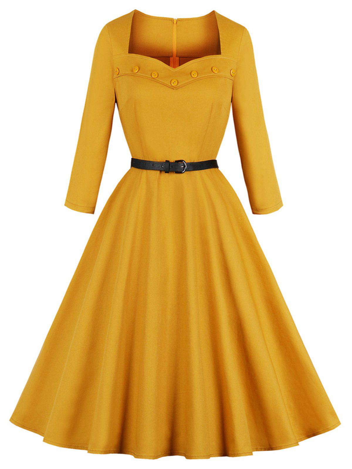 Affordable Vintage Sweetheart Neck Buttons Fit and Flare Dress