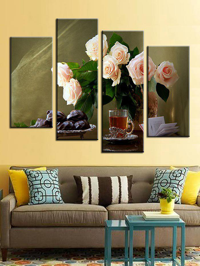 Outfit Rose Print Split Unframed Canvas Paintings