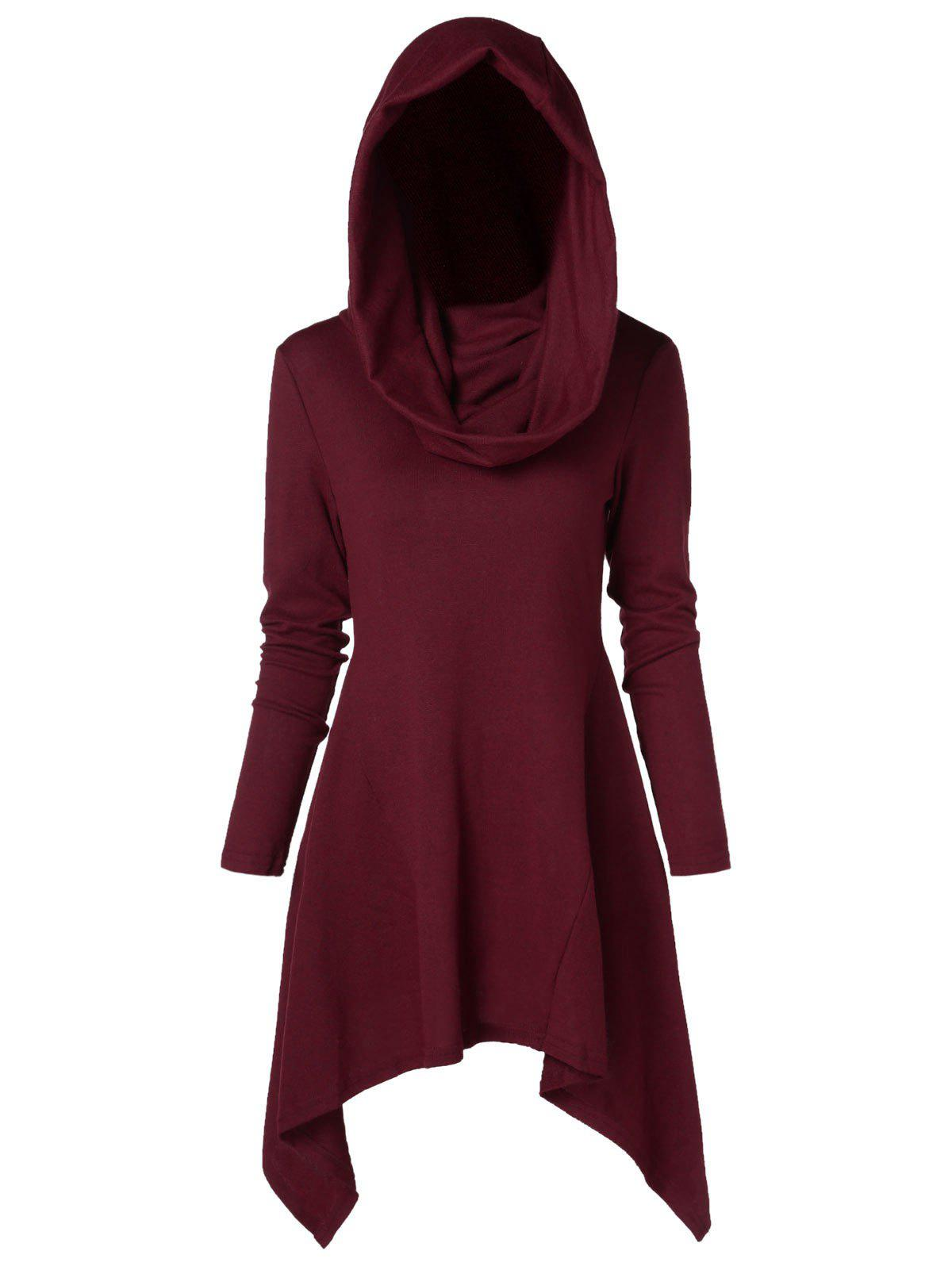 Outfit Asymmetrical Plus Size Hooded Sweater
