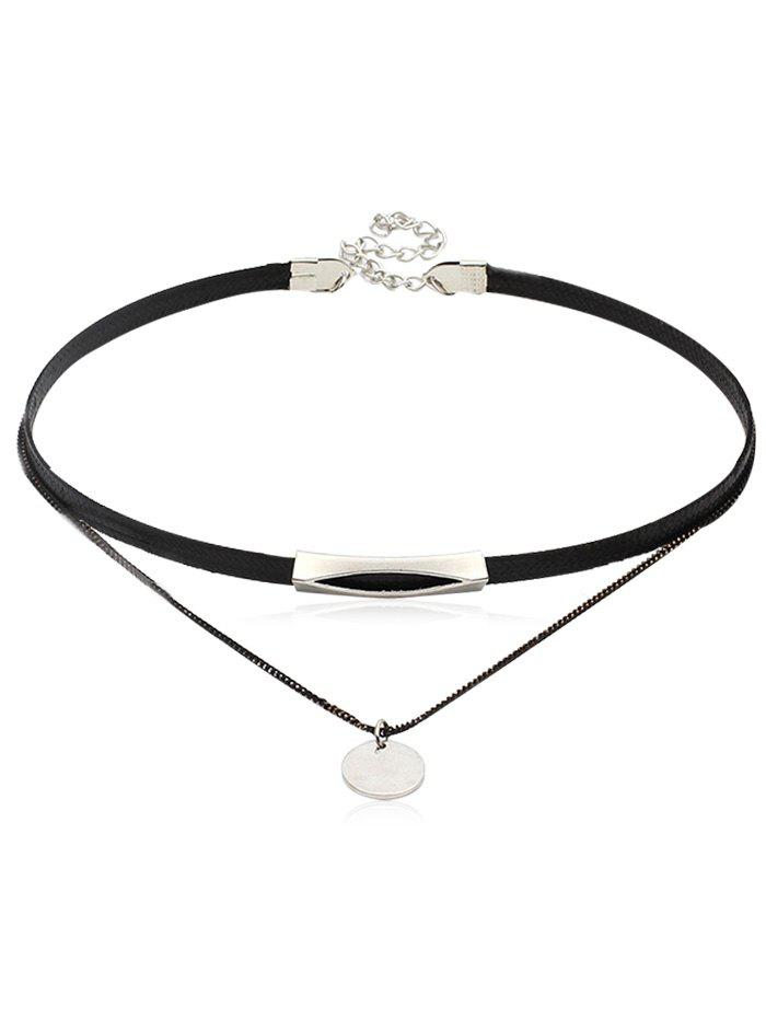 Outfits Double Layered Leather Chain Choker Necklace
