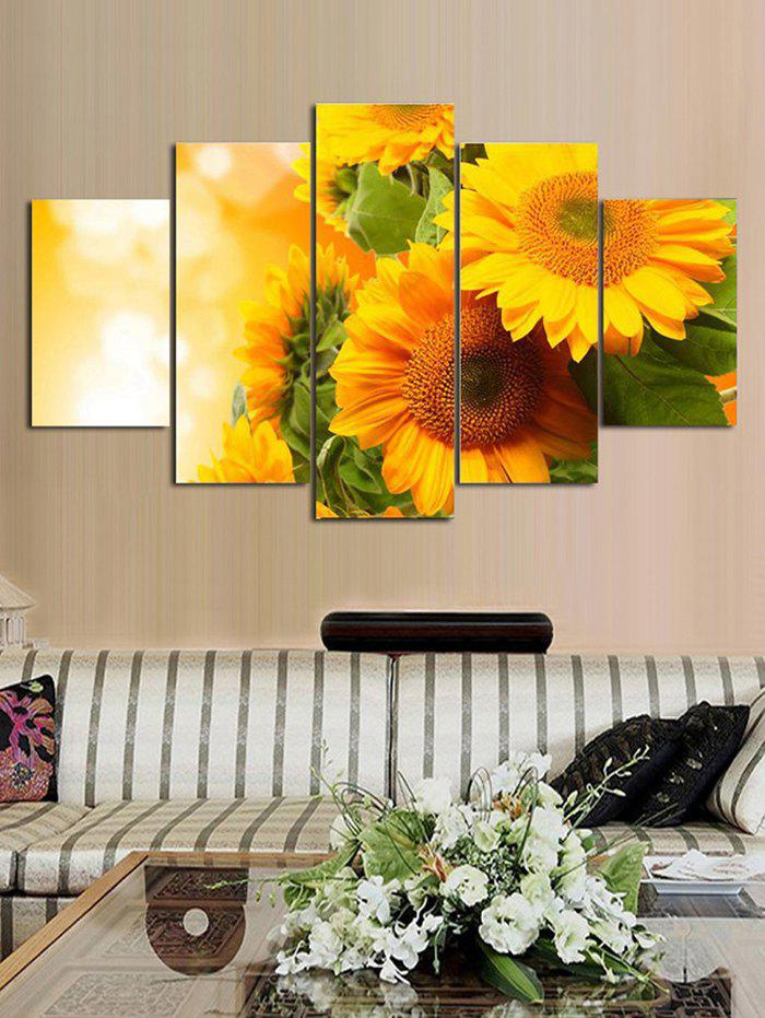 Outfit Sunflower Print Split Unframed Canvas Paintings
