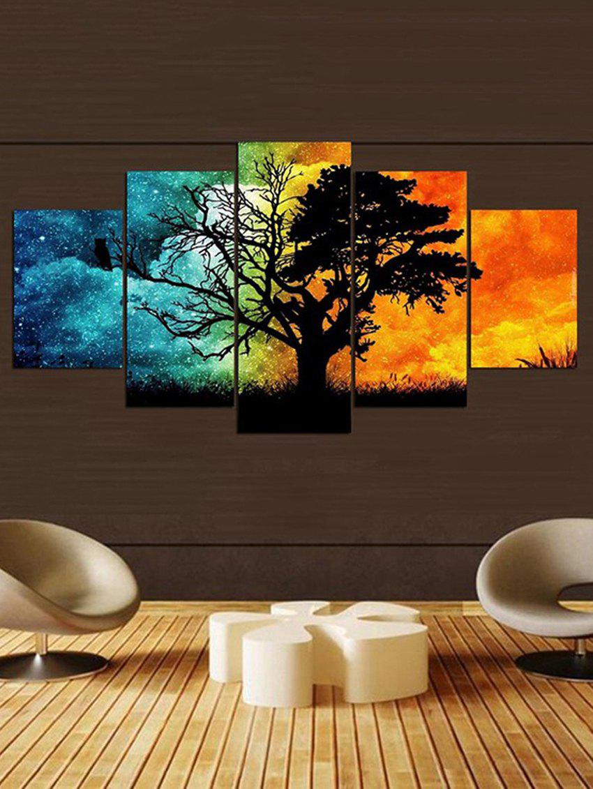 Outfits Colorful Galaxy Sky Tree Print Canvas Paintings