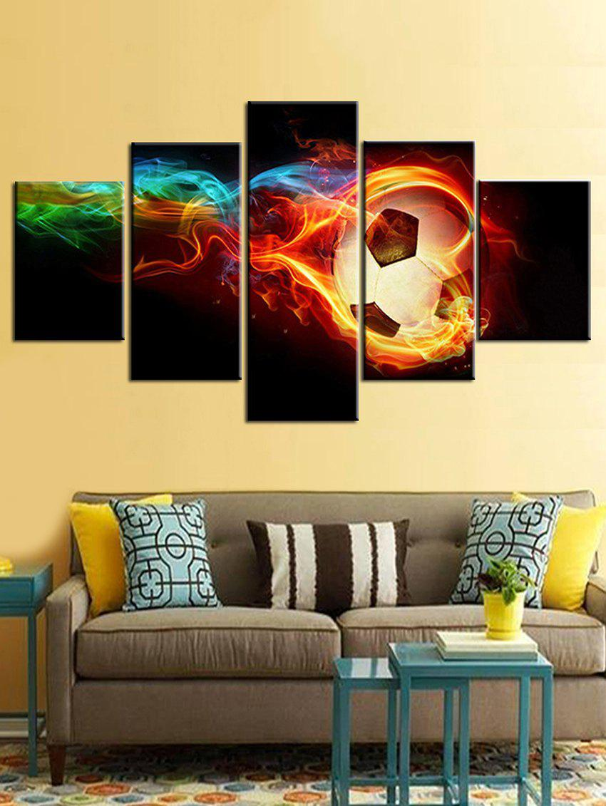 Outfits Fire Football Print Split Unframed Canvas Paintings