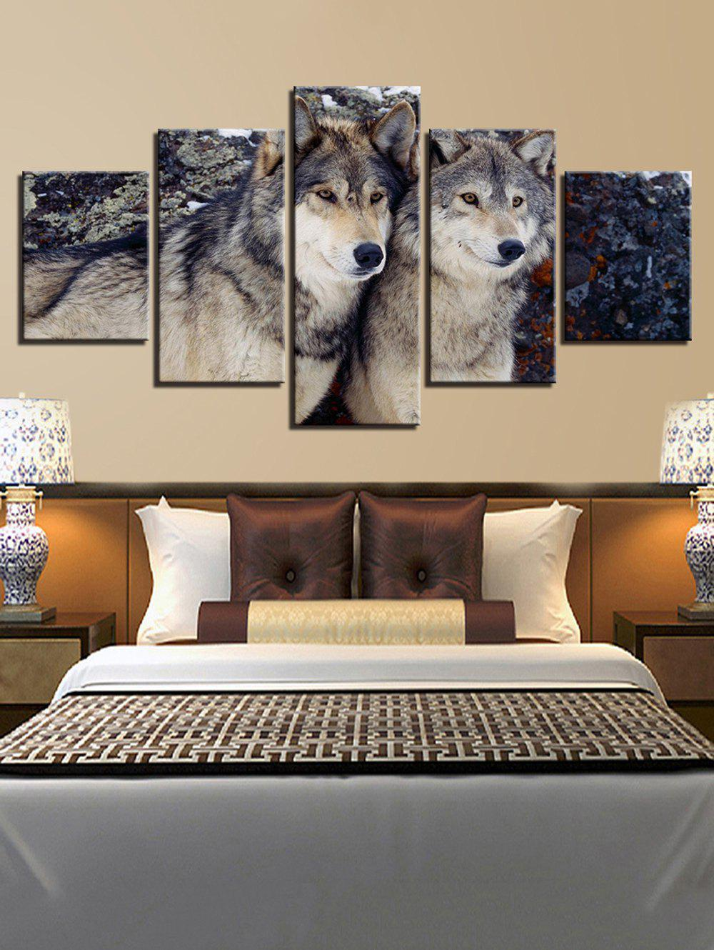 Buy Wolf Print Split Unframed Canvas Paintings