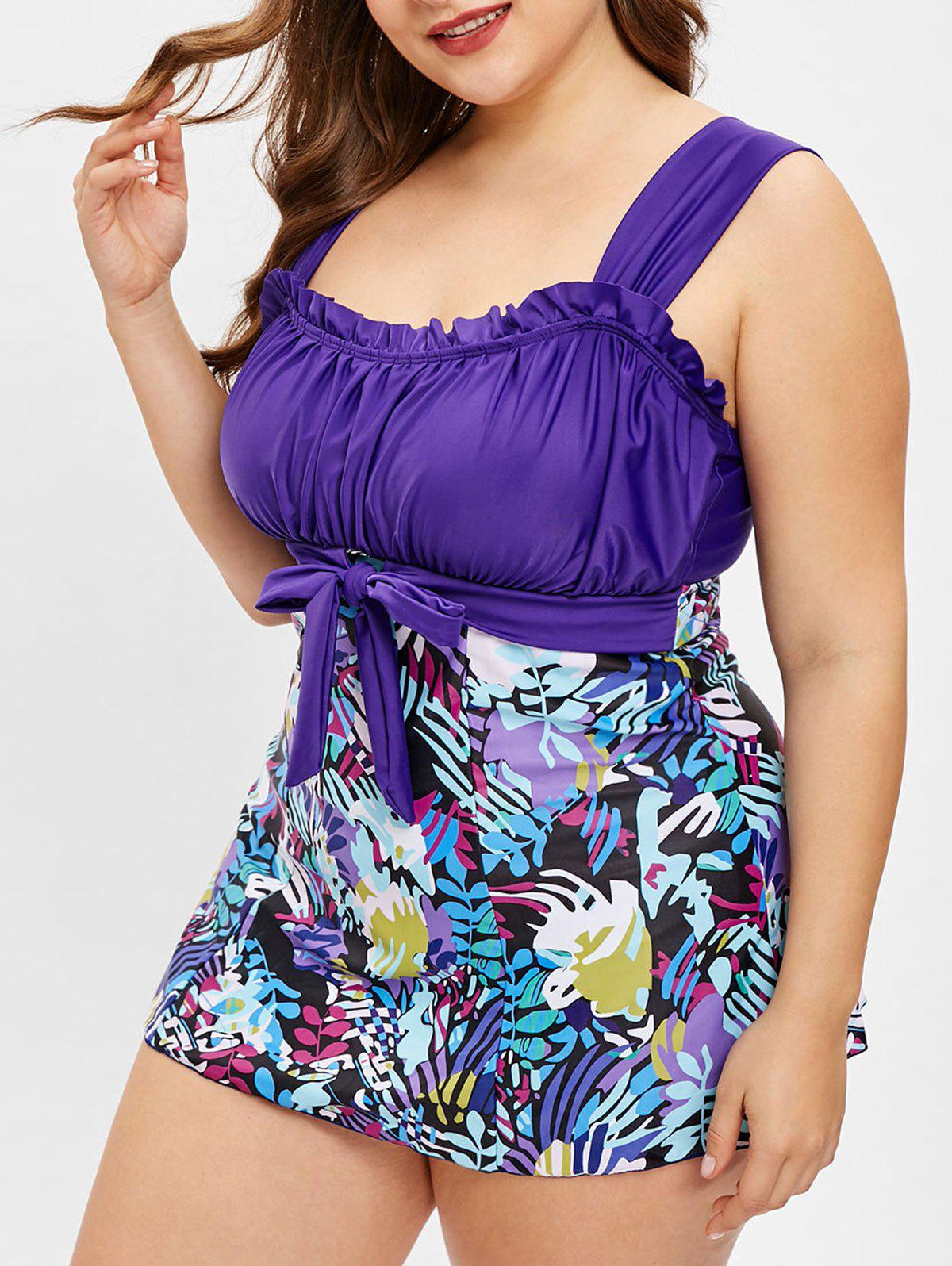 Discount Plus Size Leaves Print Knotted Tankini Set