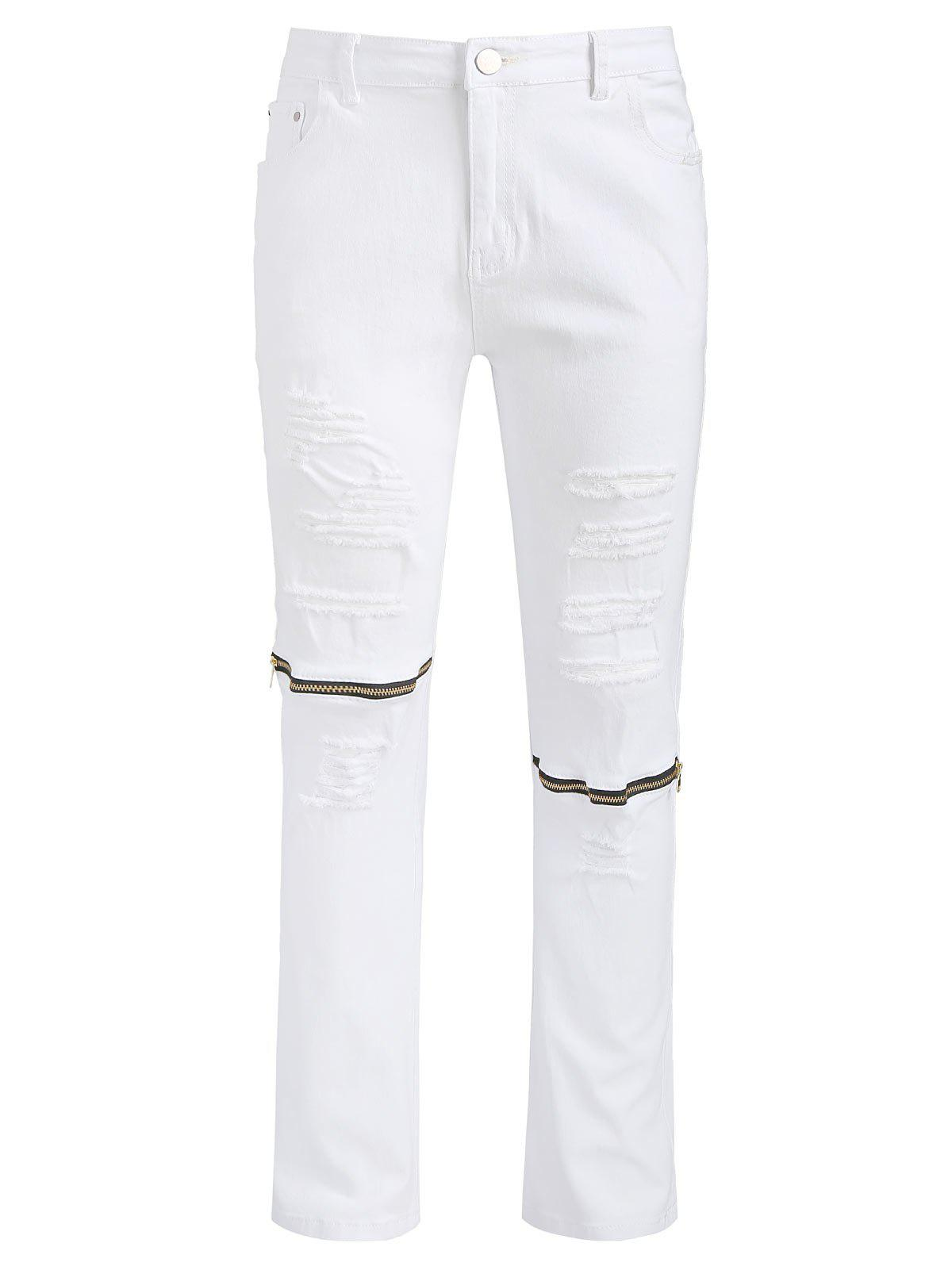 Fancy Zipper Long Destroy Wash Ripped Jeans