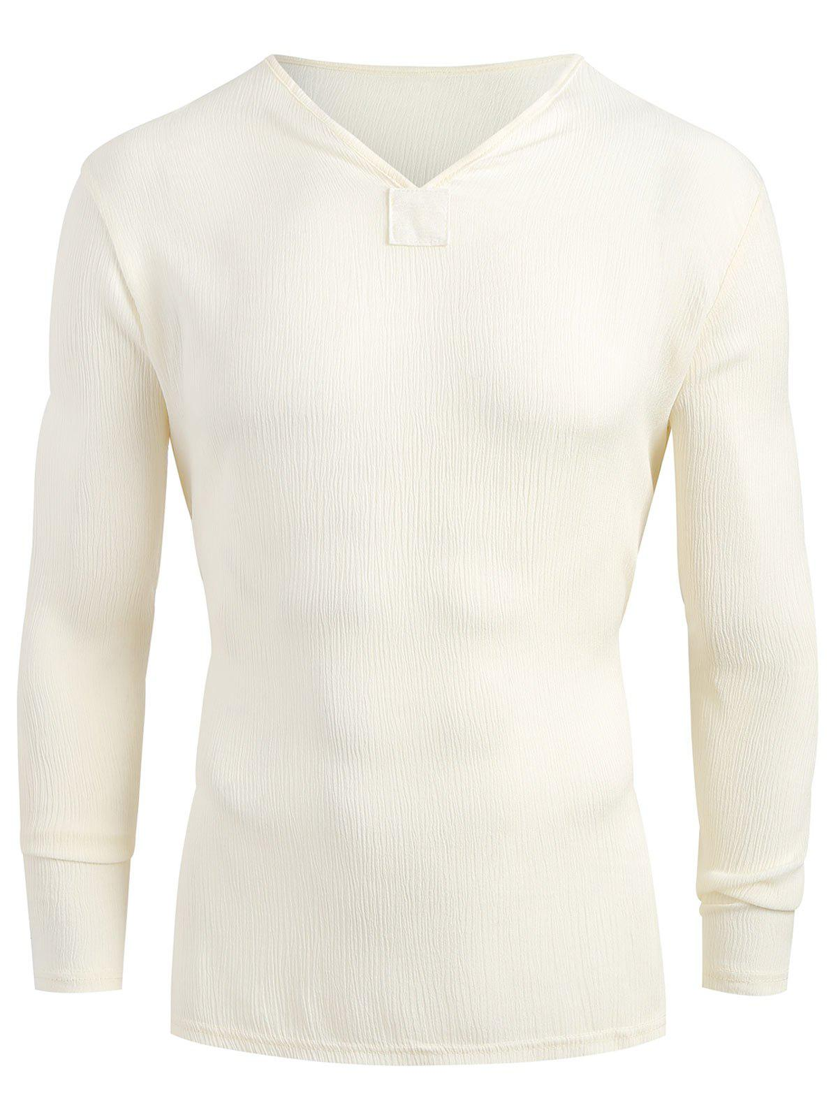 Latest Long Sleeves V-Neck High Low Shirt