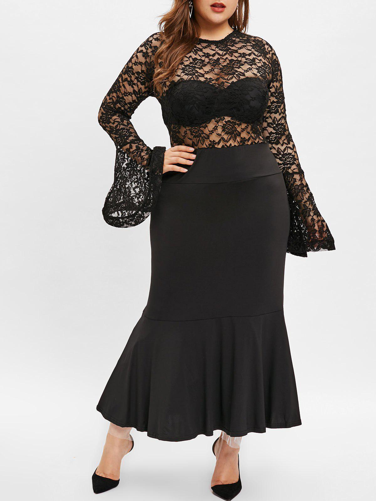 Best See Through Plus Size Lace Panel Maxi Dress