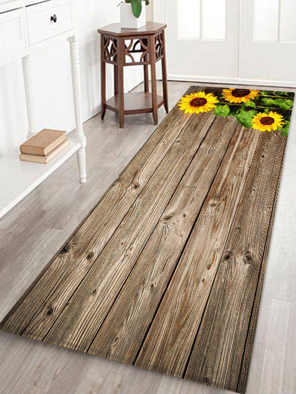 Outfit Sunflowers Wood Board Print Floor Mat
