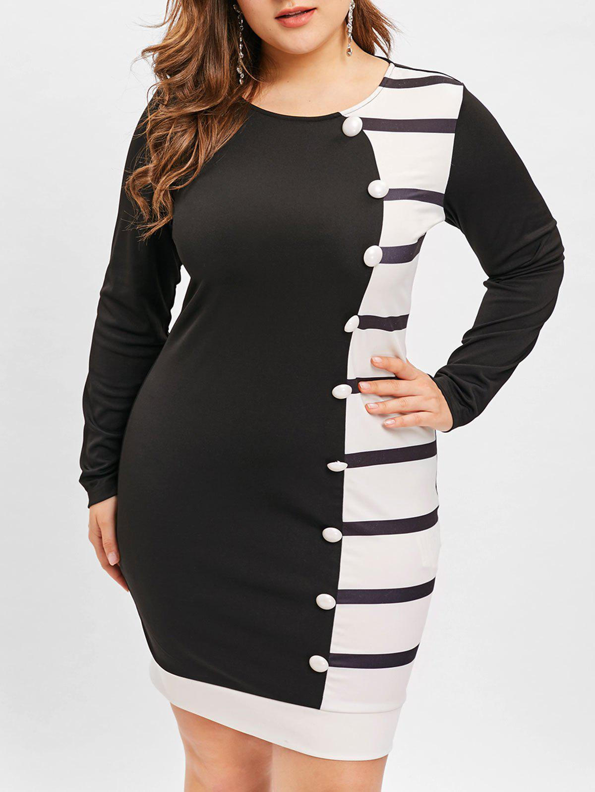 Store Plus Size Buttons Embellished Hit Color Bodycon Dress