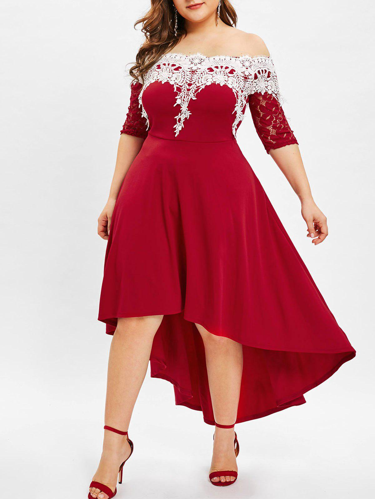 6d1d30fb0c8 29% OFF  Lace Panel Plus Size High Low Dress