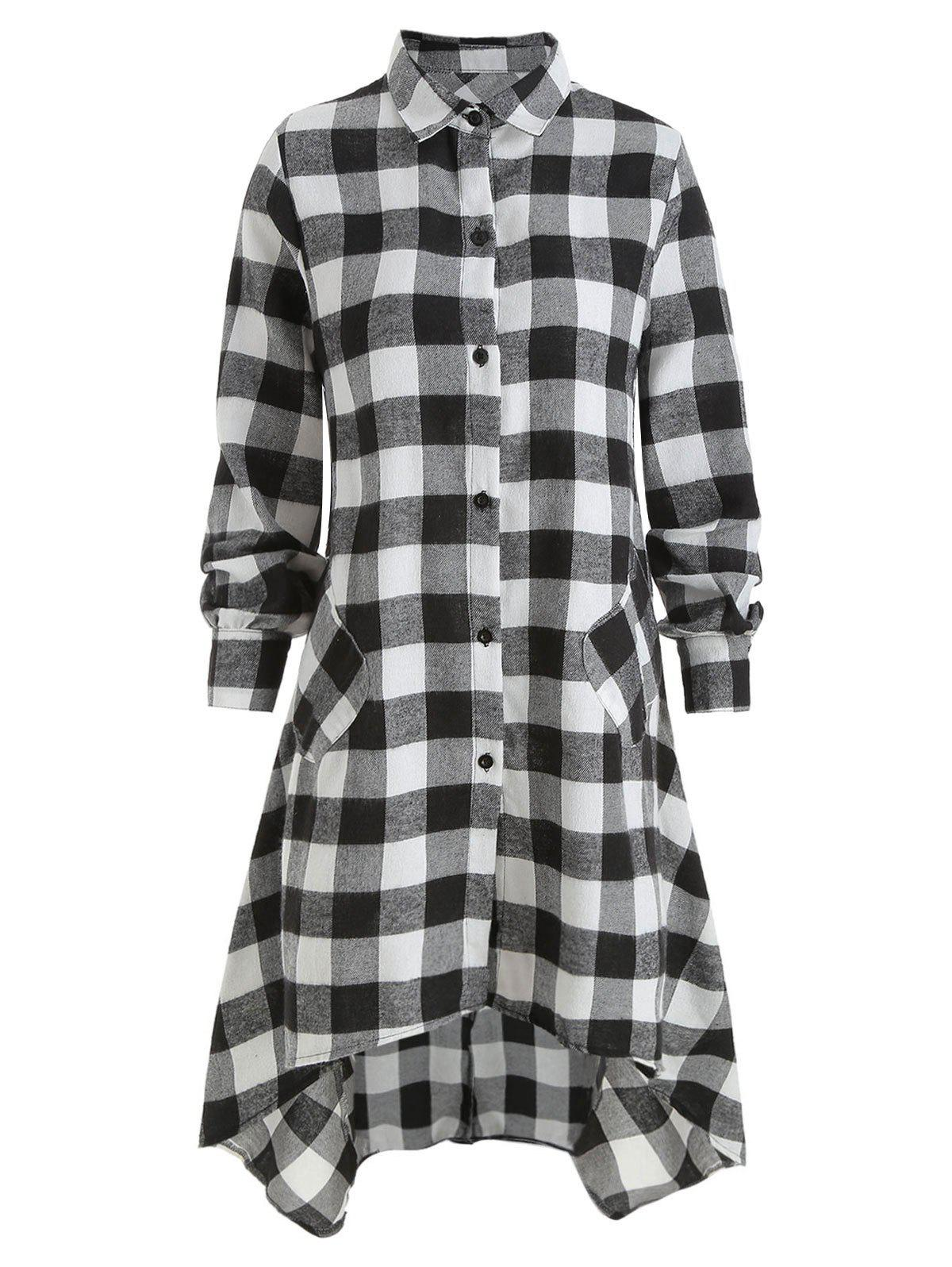 Online Plaid Longline Button Up Shirt