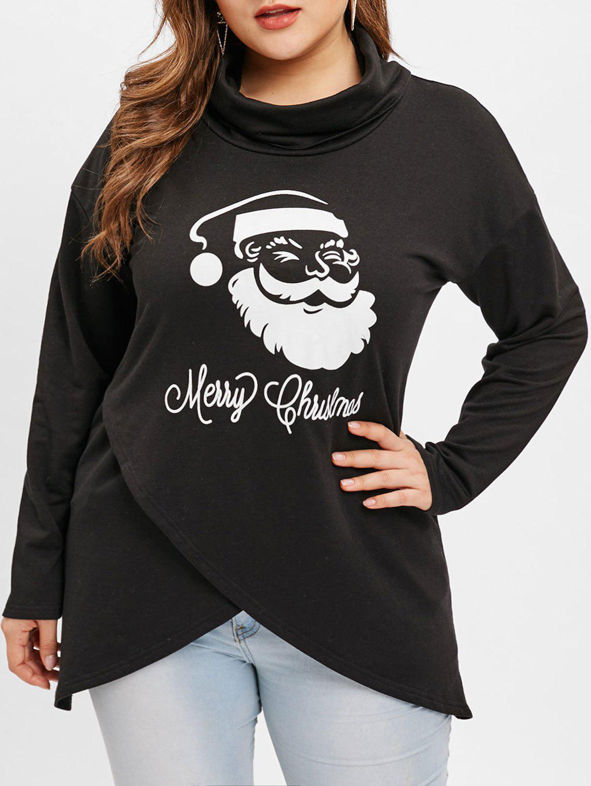 Fashion Plus Size Chritsmas Santa Claus Print Irregular Sweatshirt