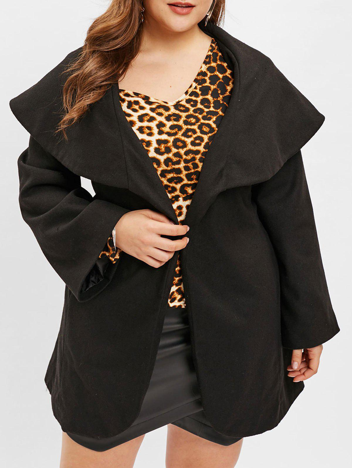 Online Turn Down Collar Plus Size Belted Coat