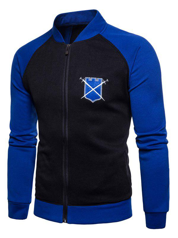 Baseball Style Chest Applique Zipper Up Fleece Sweatshirt