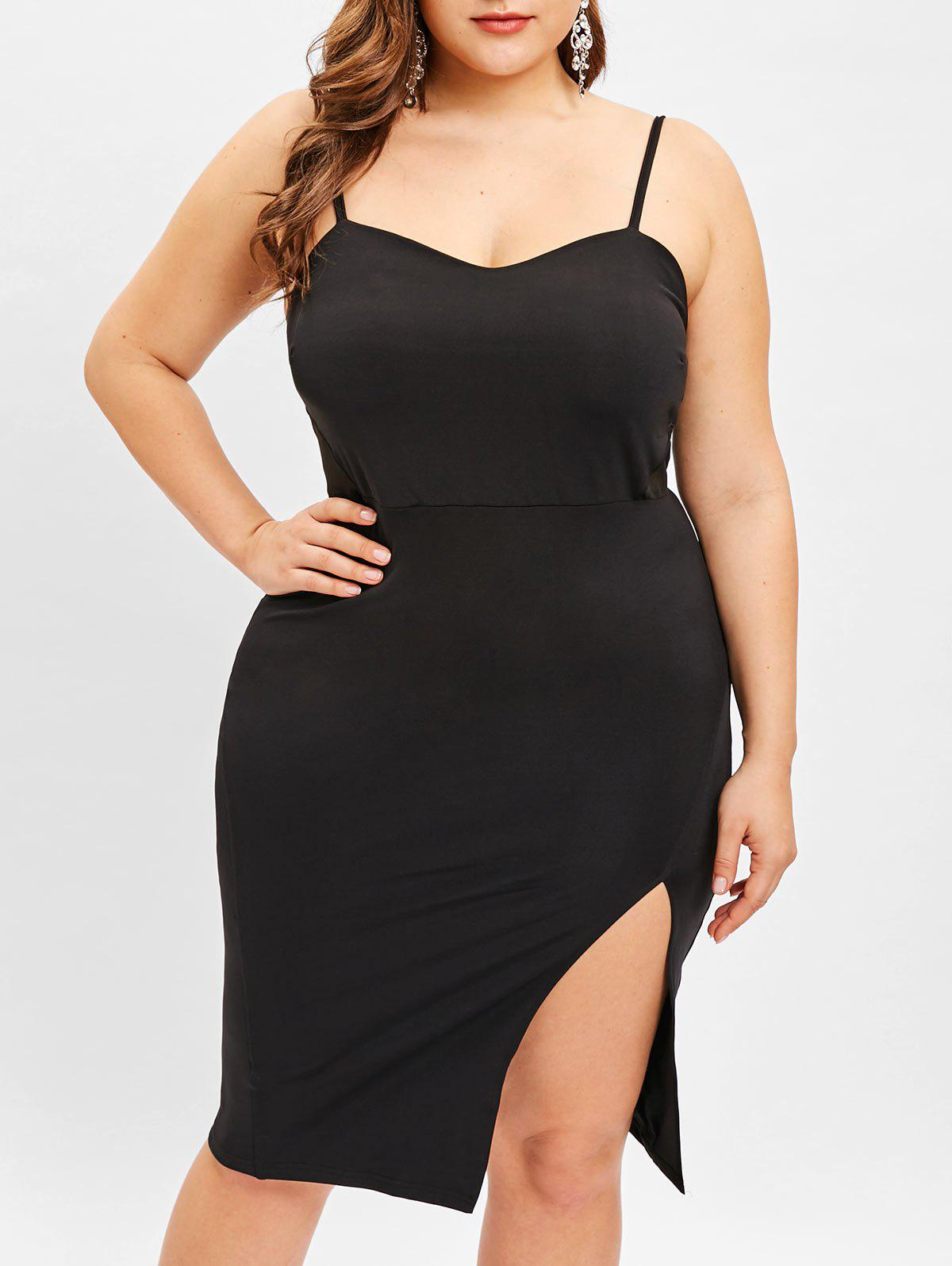 2bcfdd2f0467 42% OFF] Plus Size Slit Cami Dress With Mesh   Rosegal