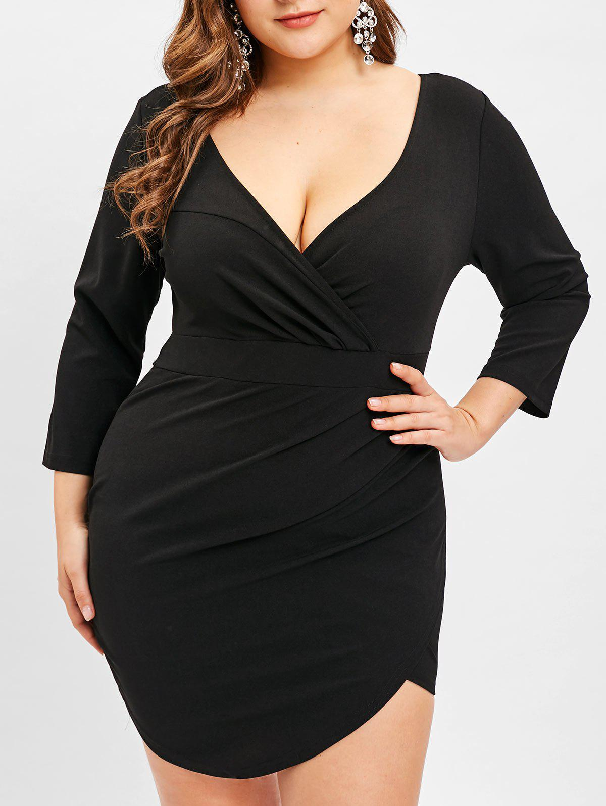 Affordable Plus Size Plunging Bodycon Surplice Dress