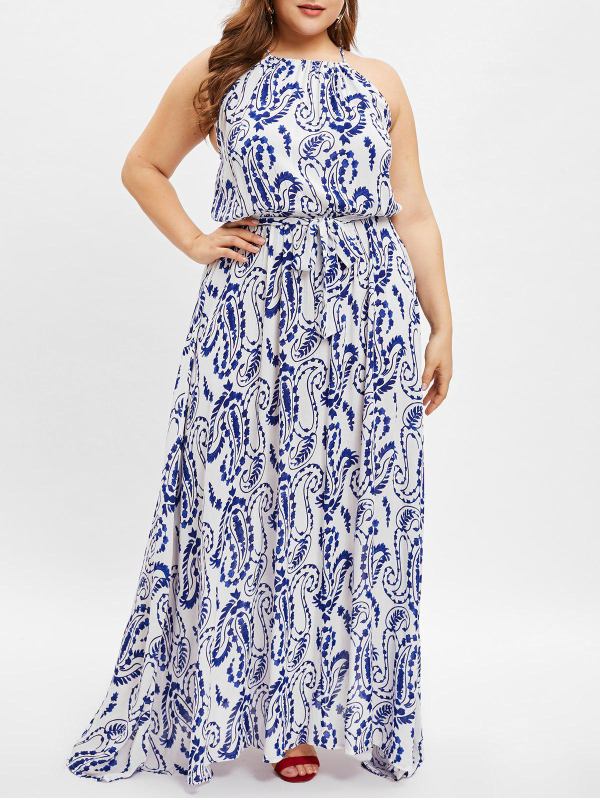 Fancy Paisley Print Plus Size Elastic Waist Longline  Dress
