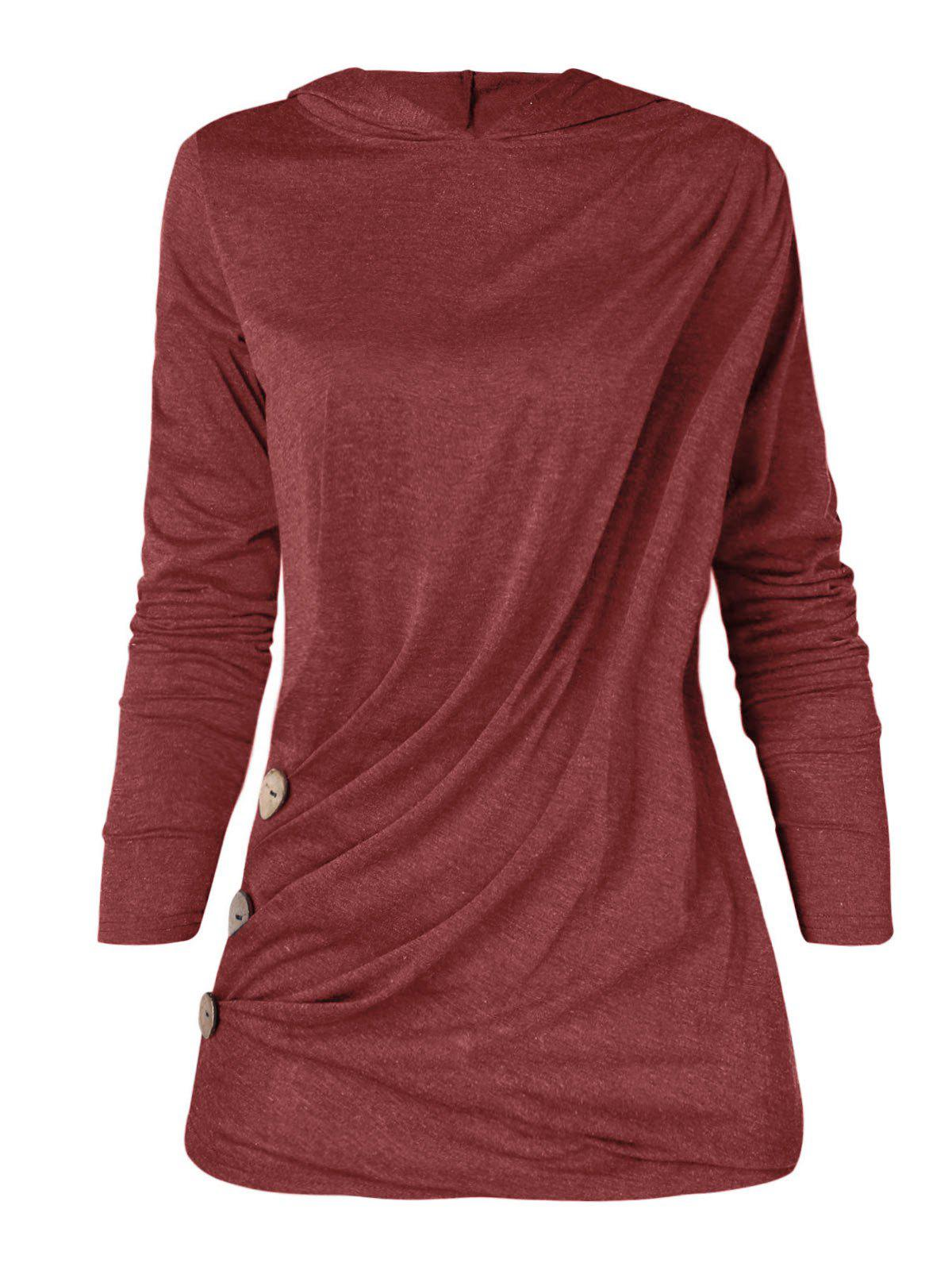 Trendy Long Sleeve Plus Size Button Detail Hoodie