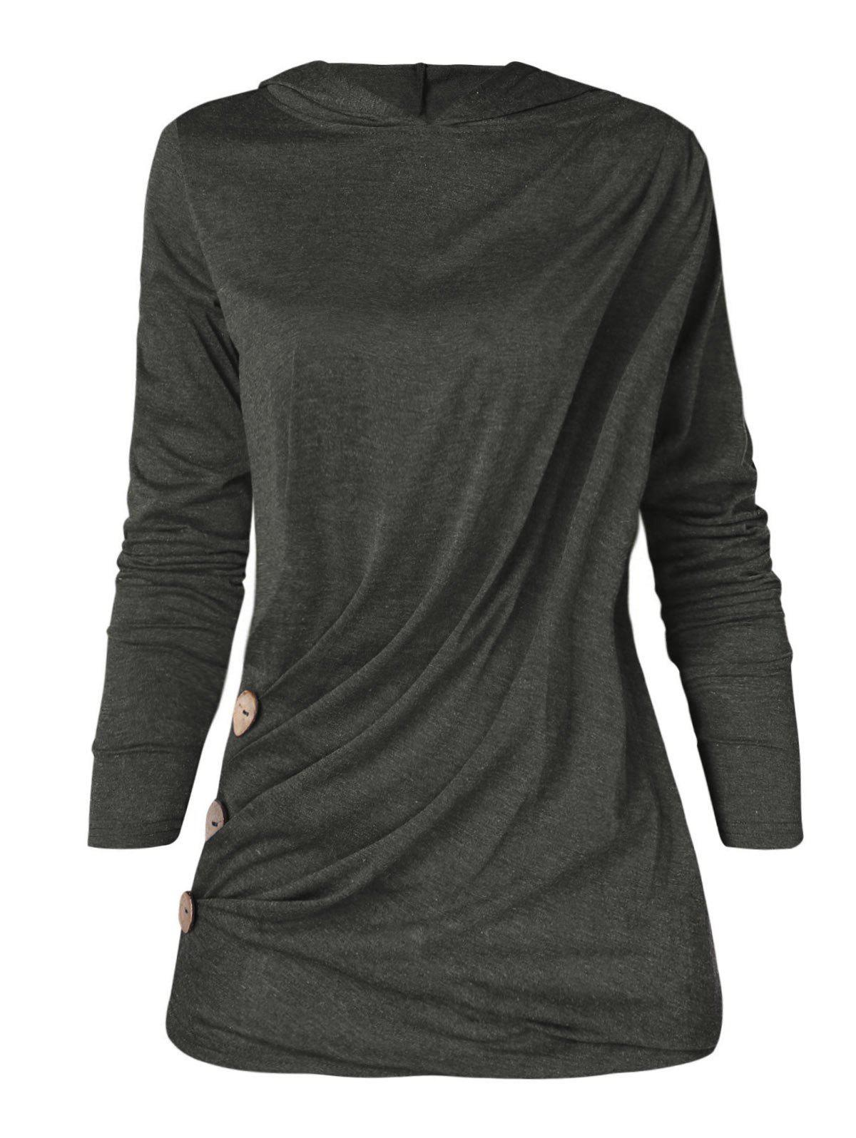 Shops Long Sleeve Plus Size Button Detail Hoodie