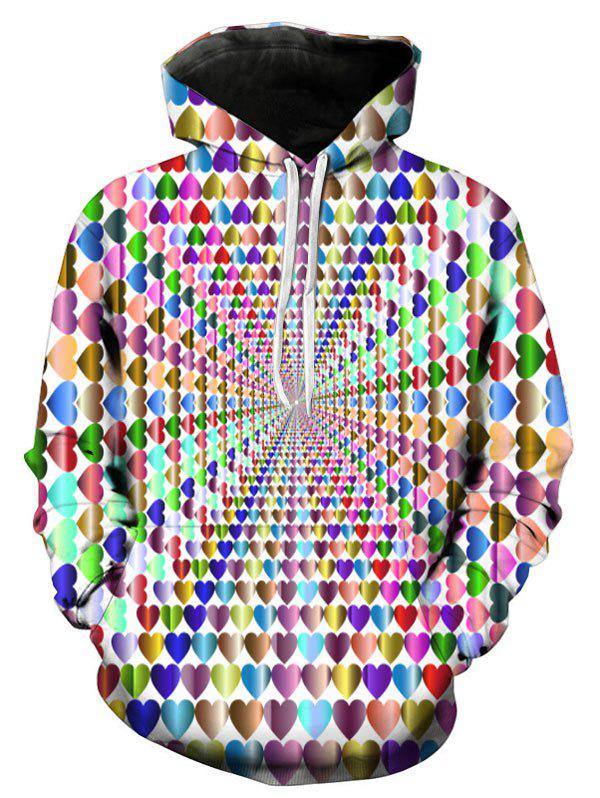 Sweat à Capuche 3D Cœur Coloré Imprimé Multi-A 3XL