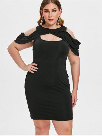 Plus Size Cold Shoulder Cut Out Bodycon Dress