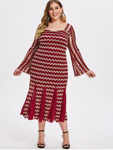 Plus Size Zigzag Lace Mermaid Dress