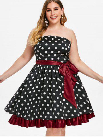 Plus Size Vintage Strapless Polka Dot Pin Up Dress