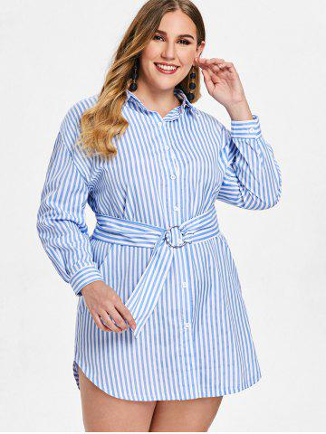 Plus Size Striped Long Sleeve Button Shirt Dress