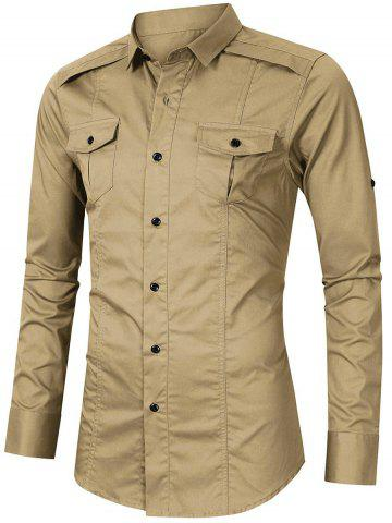 Long Sleeve Button Pockets Rolled Up Sleeves Shirt