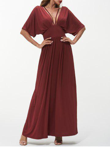 Plunging Neck Strappy Maxi Dress