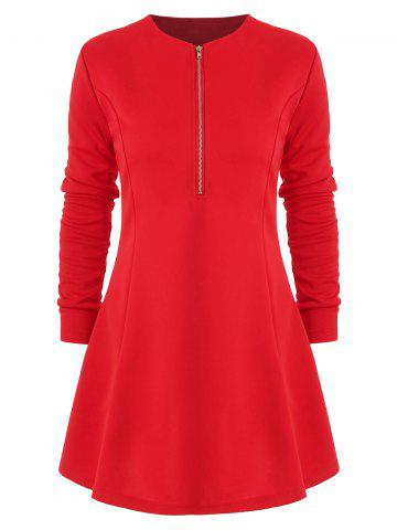Long Sleeve Half Zip Mini Dress