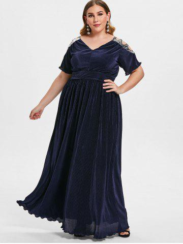Plus Size Maxi Dresses Long Sleeve Floral White And Black Cheap