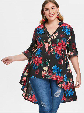Plus Size Flower Print Flare Blouse
