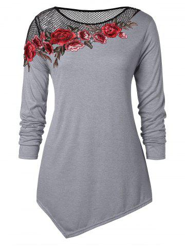 7f1a788b77a 26% OFF] Floral Pattern Long Sleeve Plus Size Draped T-shirt | Rosegal